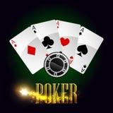 Διανυσματική αφίσα καρτών πόκερ χαρτοπαικτικών λεσχών Στοκ εικόνες με δικαίωμα ελεύθερης χρήσης