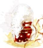 Διανυσματική αφίσα με την πλήρη χλόη της ελαφριάς μπύρας με τον αφρό Στοκ Εικόνες
