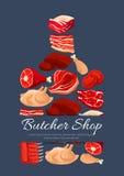 Διανυσματική αφίσα προϊόντων κρέατος και κρεοπωλείων Στοκ Εικόνες