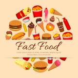 Διανυσματική αφίσα πρόχειρων φαγητών και επιδορπίων γρήγορου φαγητού Στοκ Εικόνα