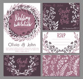 Διανυσματική γαμήλια συλλογή Τα πρότυπα για την πρόσκληση, ευχαριστούν εσείς λαναρίζουν, εκτός από την ημερομηνία, RSVP Στοκ Εικόνες