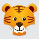 Διανυσματική εικόνα του χαριτωμένου προσώπου της τίγρης Στοκ εικόνα με δικαίωμα ελεύθερης χρήσης