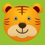 Διανυσματική εικόνα του χαριτωμένου προσώπου της τίγρης Στοκ Φωτογραφίες
