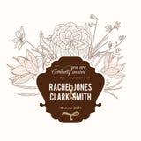 Διανυσματική εκλεκτής ποιότητας καφέ σοκολατί γαμήλια πρόσκληση σχεδίων πλαισίων Floral με τα μοντέρνα αναδρομικά λουλούδια και τ Στοκ Εικόνες
