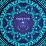 Διανυσματική ευχετήρια κάρτα στο ινδικό φεστιβάλ των φω'των diwali happy Στοκ Εικόνες