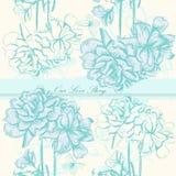 Διανυσματική κάρτα γαμήλιας πρόσκλησης με τα λουλούδια Στοκ Εικόνα