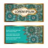 Διανυσματική κάρτα καρτών δώρων προτύπων εκλεκτής ποιότητας Floral υπόβαθρο σχεδίων mandala Εθνικό σχεδιάγραμμα σχεδίου Ισλάμ, Αρ Στοκ Εικόνες