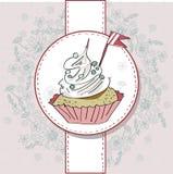 Διανυσματική κάρτα με το ζωηρόχρωμο cupcake Στοκ εικόνες με δικαίωμα ελεύθερης χρήσης