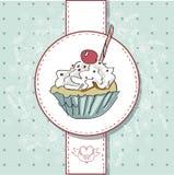 Διανυσματική κάρτα με το ζωηρόχρωμο cupcake Στοκ Φωτογραφία