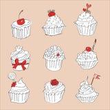 Διανυσματική κάρτα με το ζωηρόχρωμο cupcake Στοκ Εικόνες