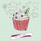 Διανυσματική κάρτα με το ζωηρόχρωμο cupcake Στοκ Φωτογραφίες