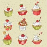 Διανυσματική κάρτα με το ζωηρόχρωμο cupcake Στοκ Εικόνα