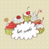 Διανυσματική κάρτα με το ζωηρόχρωμο cupcake Στοκ φωτογραφία με δικαίωμα ελεύθερης χρήσης