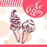 Διανυσματική κάρτα παγωτού Hand-drawn αφίσα με το καλλιγραφικό στοιχείο Απεικόνιση τέχνης γλυκό εικονιδίων Στοκ Εικόνα