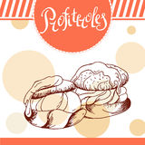 Διανυσματική κάρτα Profiteroles Hand-drawn αφίσα με το καλλιγραφικό στοιχείο Απεικόνιση τέχνης γλυκό εικονιδίων Στοκ Εικόνα