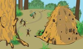 Διανυσματική μυρμηγκοφωλιά κινούμενων σχεδίων Στοκ Φωτογραφίες