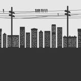 Διανυσματική πόλη σκιαγραφιών Στοκ φωτογραφίες με δικαίωμα ελεύθερης χρήσης