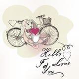 Διανυσματική ρομαντική κάρτα με το κουνέλι παιχνιδιών και ποδήλατο στην εκλεκτής ποιότητας σκουριά Στοκ φωτογραφία με δικαίωμα ελεύθερης χρήσης