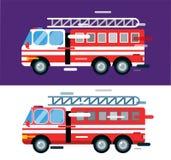 Διανυσματική σκιαγραφία κινούμενων σχεδίων αυτοκινήτων πυροσβεστικών οχημάτων Στοκ Εικόνες