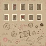 Διανυσματική συλλογή των εκλεκτής ποιότητας ταχυδρομικών σφραγίδων για την ημέρα βαλεντίνων του ST Στοκ Εικόνες