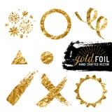 Διανυσματική χρυσή συλλογή φύλλων αλουμινίου Στοκ Εικόνες
