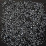 Διανυσματική hand-drawn ημέρα των ευχαριστιών Doodle κινούμενων σχεδίων Στοκ φωτογραφία με δικαίωμα ελεύθερης χρήσης