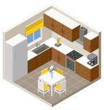 Διανυσματική isometric κουζίνα Στοκ Εικόνες