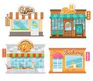 Διανυσματικοί επίπεδοι καφέδες και κατάστημα απεικόνισης Στοκ Φωτογραφία