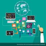 Διανυσματικός επιχειρηματίας με την τεχνολογία επικοινωνιών παγκοσμίως Στοκ φωτογραφίες με δικαίωμα ελεύθερης χρήσης