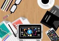 Διανυσματικός επιχειρηματίας χώρων εργασιών με το σύγχρονο τεχνολογικό επίπεδο σχέδιο εξοπλισμού Στοκ Εικόνες