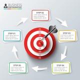 Διανυσματικός στόχος με το βέλος για infographic Στοκ Φωτογραφία