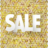 Διανυσματικός τίτλος πώλησης στο χρυσό τριγωνικό υπόβαθρο Στοκ φωτογραφία με δικαίωμα ελεύθερης χρήσης