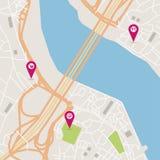 Διανυσματικός χάρτης πόλεων Στοκ Εικόνες