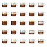 Διανυσματικός infographic με τους τύπους καφέ Στοκ Εικόνες