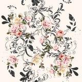 Διανυσματικό άνευ ραφής σχέδιο για το σχέδιο ταπετσαριών με τα λουλούδια Στοκ Φωτογραφία