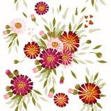Διανυσματικό άνευ ραφής σχέδιο με συρμένα τα χέρι λουλούδια κόσμου Στοκ εικόνα με δικαίωμα ελεύθερης χρήσης
