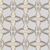 Διανυσματικό άνευ ραφής σχέδιο με τα sculls των βούβαλων Στοκ Φωτογραφία
