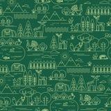 Διανυσματικό άνευ ραφής σχέδιο με τη δασικές χλωρίδα και την πανίδα Στοκ Εικόνες