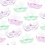 Διανυσματικό άνευ ραφής σχέδιο με τις μάσκες doodle Στοκ Εικόνες