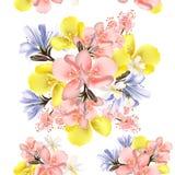 Διανυσματικό άνευ ραφής σχέδιο λουλουδιών με τα λουλούδια Στοκ φωτογραφίες με δικαίωμα ελεύθερης χρήσης