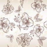 Διανυσματικό άνευ ραφής σχέδιο ταπετσαριών με τα λουλούδια κρίνων Στοκ φωτογραφία με δικαίωμα ελεύθερης χρήσης