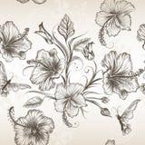 Διανυσματικό άνευ ραφής σχέδιο ταπετσαριών με τα λουλούδια Στοκ Φωτογραφίες