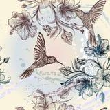 Διανυσματικό άνευ ραφής σχέδιο ταπετσαριών με τα πουλιά και τα λουλούδια Στοκ Εικόνες