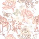 Διανυσματικό άνευ ραφής σχέδιο ταπετσαριών με τα τριαντάφυλλα Στοκ Φωτογραφία