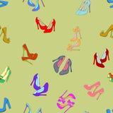 διανυσματικό άνευ ραφής υπόβαθρο με τα παπούτσια Στοκ Εικόνα
