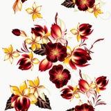 Διανυσματικό άνευ ραφής υπόβαθρο με hibiscus τα λουλούδια στο αναδρομικό ύφος Στοκ Εικόνες