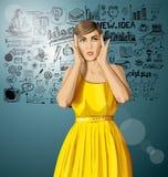Διανυσματικό έκπληκτο κορίτσι στο φόρεμα Στοκ Φωτογραφία