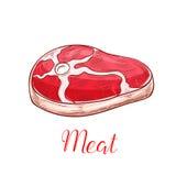 Διανυσματικό απομονωμένο σκίτσο εικονίδιο μπριζόλας φρέσκου κρέατος Στοκ φωτογραφία με δικαίωμα ελεύθερης χρήσης
