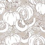 Διανυσματικό βοτανικό σχέδιο με τις κολοκύθες, τα λουλούδια και τα φύλλα Στοκ εικόνα με δικαίωμα ελεύθερης χρήσης