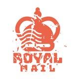Διανυσματικό εκλεκτής ποιότητας γραμματόσημο ταχυδρομείου ταχυδρομικών τελών βασιλικό Στοκ φωτογραφίες με δικαίωμα ελεύθερης χρήσης